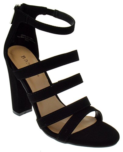 BAMBOO Lemonlight 02 M Womens Strappy Chunky Heeled Gladiator Sandals Black Nubuck 6