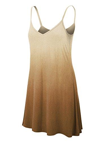 (LL WDR1139 Womens V Neck Dip Dye Spaghetti Strap Tunic Short Dress S Brown)