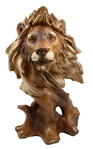 Golden Bronze Tone Finish - Atlantic Collectibles Mufasa The Wise Lion King of The Jungle Bust Decorative Figurine 11.25