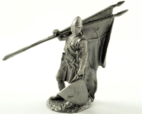 The Crusaders. Hospitaller 13th century after the battle. Metal sculpture. Collection 54mm (scale 1/32) miniature figurine. Tin toy (1096 Miniature)