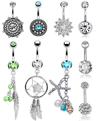 FIBO STEEL 9 Pcs Dangle Belly Button Rings for Women Girls 316L Surgical Steel Curved Navel Barbell Body Jewelry Piercing 14g Body Jewelry Beach Ball