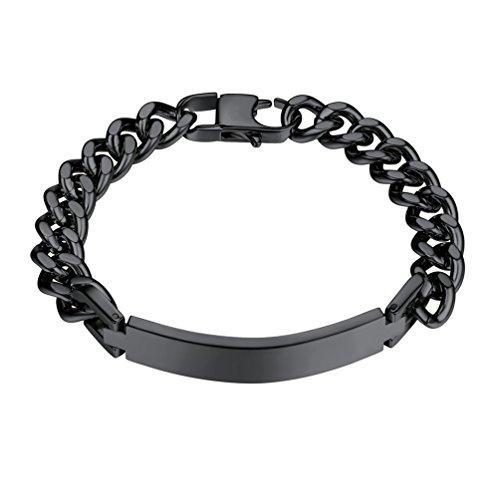 PROSTEEL Black Bracelet Men Jewelry Stainless Steel ID Bracelet Cuban Link Hand Chain ()