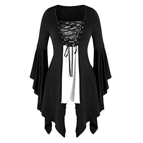 LOKODO Women Halloween Gothic Costume Plus Size Long Sleeve Tops Sequined Blouse Lace Up Tunic Tee Ball Gowns Dress White 5XL
