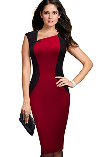 [Merope J Womens Contrast Color V Neck Slimming Cocktail Party Dress(S,Red)] (Vintage Paisley Print Costumes)