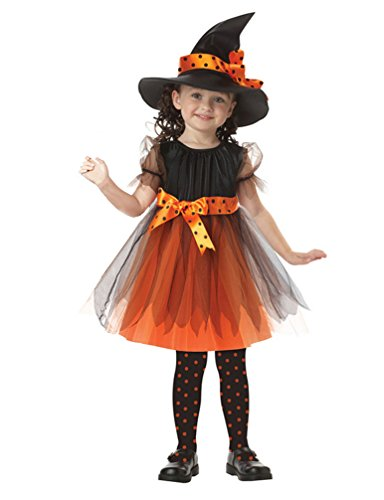 DreamsEden Pretty Girls Witch Costume - Witch Hat Dress for Halloween Dance Cosplay Fancy Party Show (Medium)