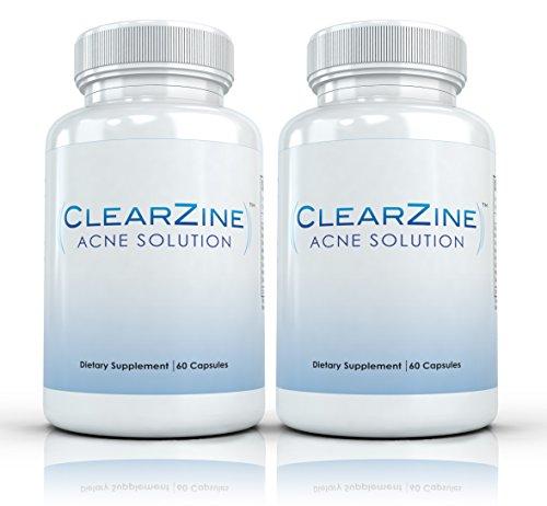 ClearZine (2 бутылки) - таблетки Лучшие лечения акне. Устраняет прыщи, покраснения, угрей и Zits, Каждая бутылка содержит 60 капсул