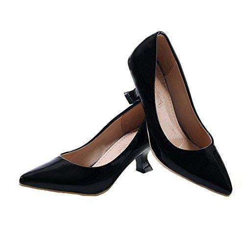 Unie VogueZone009 Correct L Chaussures geres Tire PU Couleur Talon Femme Cuir Pointu Noir 6r6EAwaq