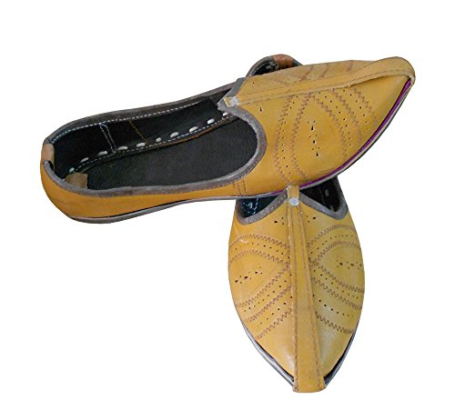 KALRA Creations Herren Traditionelle indische Leder Party Schuhe Golden Yellow