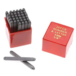 36 Piece Letter & Number Punch Set For Stamping Metal 1/8 Inch 3mm (1 Set)