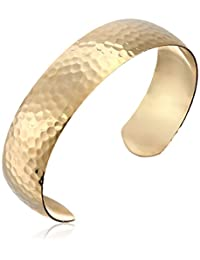 14k Gold Filled Polished and Embossed Hammered Cuff Bracelet