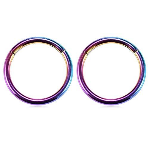 GAGABODY 16G Clicker Segment Seamless Hoop Nose Ring 12mm 1/2Inch Septum Ring Unisex Hoop Earrings Easy Use Body Piercing Rainbow ()