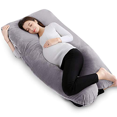 "QUEEN ROSE 55"" Pregnancy Pillow U Shaped,Full Body Pillow with Velvet Cover, Gray"
