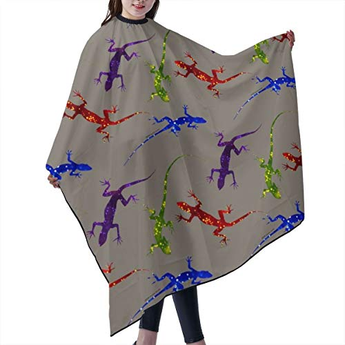 Barber Cape,Colorful Spotted Lizards On Warm Gray Salon Polyester Cape Haircut Apron 55