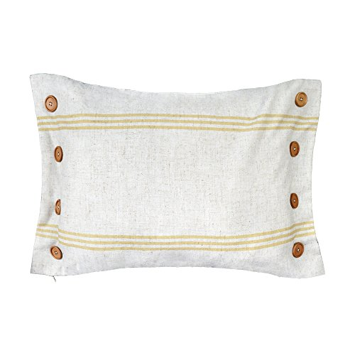 Yellow Striped Pillow - King Rose Yellow 8 Buttons Linen Blend Decorative Throw Pillow Cases Cushions Covers 16 x 24 Inches