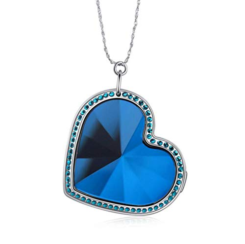 Heart Shaped GPS Tracker Necklace SOS Anti-Lost Pendant 925 Silver Pendant Mini Real Time Tracking GPS Locator,Blue
