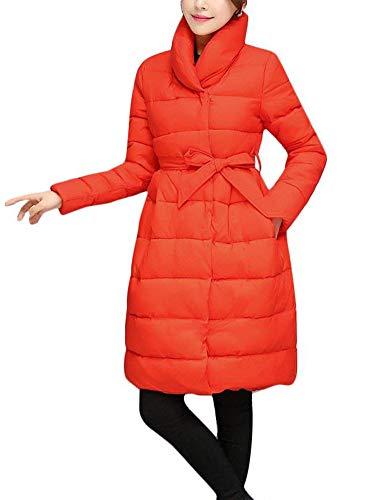 Dreamparis Women's Puffer Jacket - Juniors Long Warm Winter Coat Slim Cotton Padded Thicken Outerwear Jacket (Medium Orange)