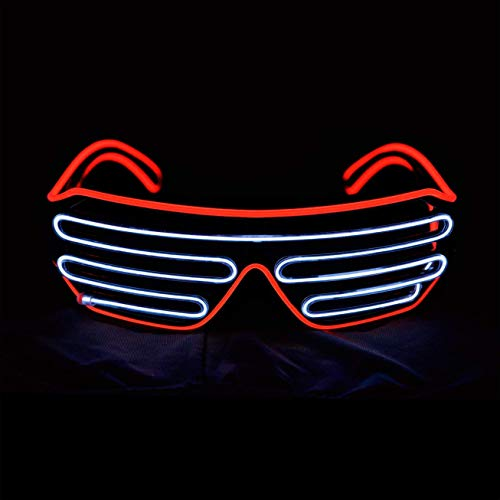 ZEERKEER EL Glasses El Wire Fashion Neon LED Light Up Glow Sun Glasses Rave Costume Party DJ Bright SunGlasses for Party Festival,Party Concert (Red White, Voice-Activated Version) for $<!--$21.99-->