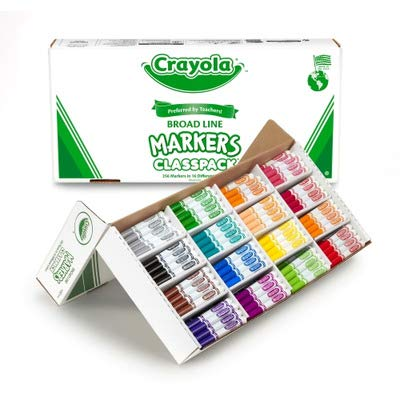 Crayola 588201 Non-Washable Classpack Markers, Broad Point, 16 Classic Colors, 256/Box -