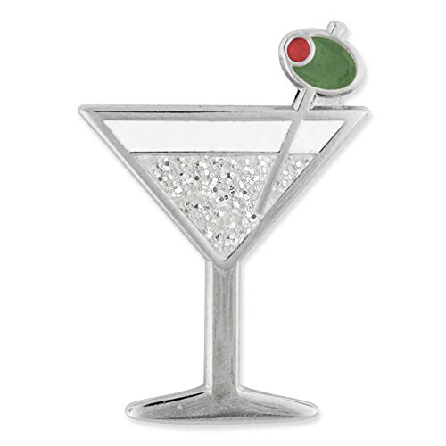 PinMart Martini w/Olive Fun Food Celebration Glitter Enamel Lapel Pin