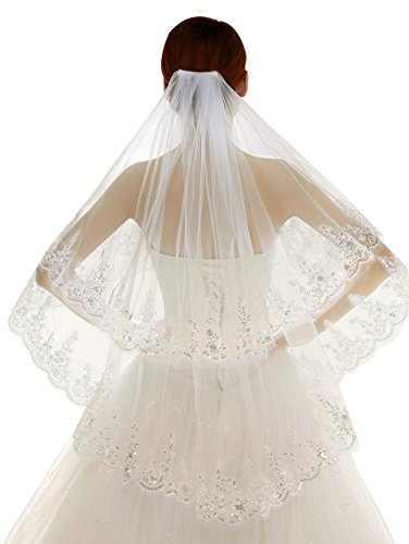 (Edith qi 2 Tier Lace Silver Lined Beaded Edge Fingertip Length Bridal Wedding Veil,Ivory,Free Size)