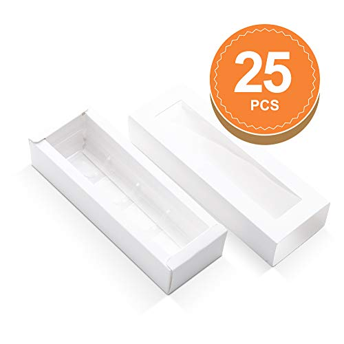 BAKIPACK Truffle Boxes, Chocolate Boxes, Candy Box Packaging with 4-Piece Plastics Tray(Tray Size with 5.75x1.25 Inches), Pull Out Packing with Clear Window Sleeves, White 25 PCS