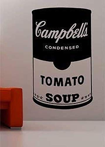 Andy Warhol Style Soup Tin Pop Art Art Quote Kitchen Lounge - Red Wall Decals Mural Decor Vinyl Sticker Z2996 ()