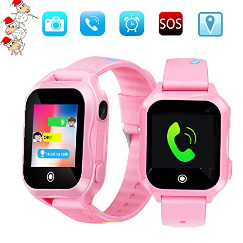- Kids Phone Smart Watch, GPS Tracker Smart Watches for Children Girls Boys 1.44inch Touch Screen Camera Waterproof SOS Smart Cell Phone Watch(Pink)