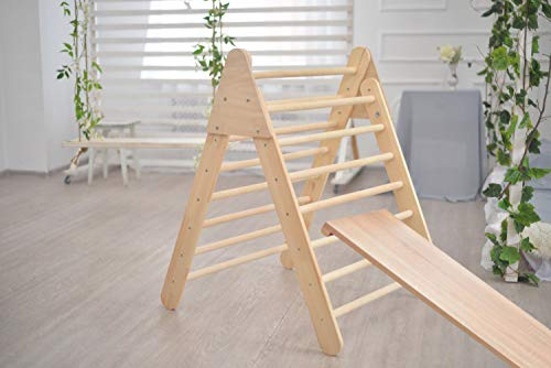Smart Kids Wooden Little Climber with Slide - Foldable Pikler Triangle - Montessori Ramp - Montessori Triangle - Climbing Gym - Toddler Climber (Unpainted)