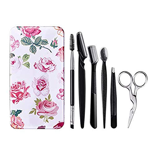 FITDON Eyebrow Grooming Set, Professional Slant Tip Tweezers & Curved Stainless Steel Scissors & 3PCS Brow Razors Trimmer & Duo Angled Eyebrow Brush with Spoolie (Eyebrow Shaping Kit)