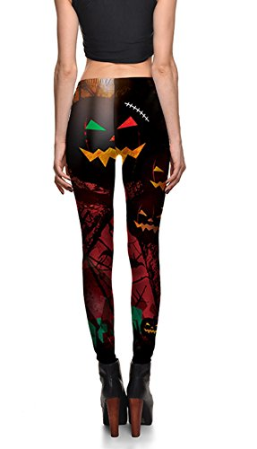 Creepy Halloween Pumpkins Print Skinny Leggings Breathable High