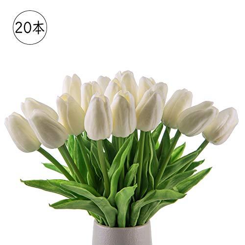 조화 시들지 않는 꽃 튤립 조화 인테리어 선물 소중한 사람에게 감사의 마음을 전하는 꽃다발 인테리어 조화 아트 플라워 실크 제조 꽃 20 개 pure white 집, 사무실, 상점, 다방, 결혼식, 파티 등 다양한 응용 위치