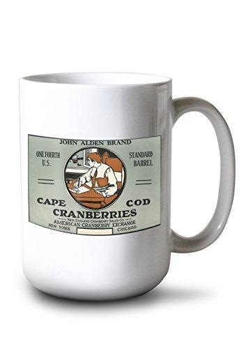 - Lantern Press Cape Cod, Massachusetts - John Alden Brand Cranberry Label (15oz White Ceramic Mug)
