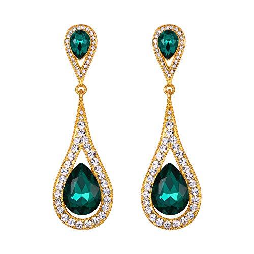 EVER FAITH Women's Austrian Crystal Elegant Dual Teardrop Pierced Dangle Earrings Emerald Color Gold-Tone ()