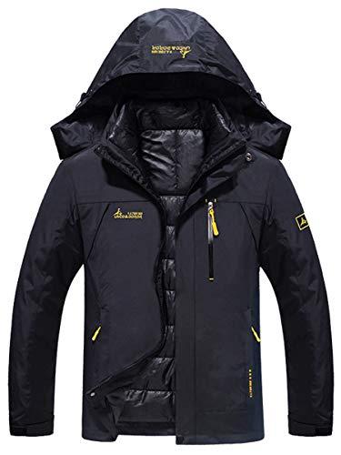 Deodar Men's Couple Interchange 3 in 1 Jacket Puffer Liner Warm Winter Insulated Short Parka Black, ()