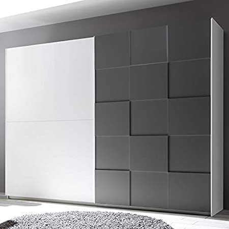 Noveomeuble - Armario 275 cm, diseño blanco y gris lacado TIAVANO