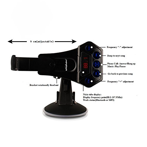 Radio FM Transmitter Car Kit with Bluetooth, Windshield and