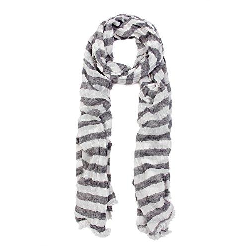 (Pure Cotton Lightweight Striped Fashion Scarf, Grey)