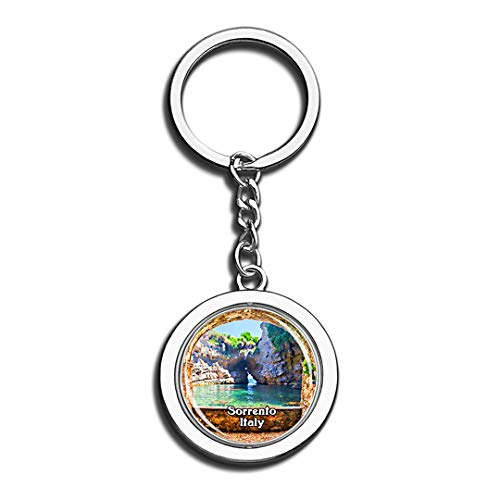 Sorrento Giovanna Beach Italy 3D Crystal Creative Keychain Spinning Round Stainless Steel Key Chain Ring Travel City Souvenir Collection ()