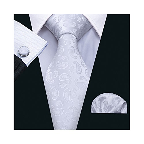 White Paisley Ties Pocket Square Cufflinks Set Wedding Necktie Set by Barry.Wang