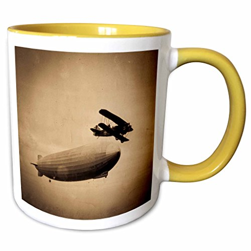 3dRose Scenes from the Past Vintage Photographs - The Graf Zeppelin Approaching New York City Photograph Sepia - 11oz Two-Tone Yellow Mug (mug_77352_8) Graf Zeppelin Cover