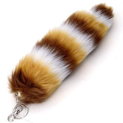 Brown/Tan/White Stripes Faux Fur Fox Tail with Clip 12 Inch-Brand New with Tags!