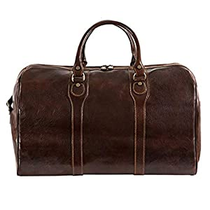 """Italian Leather Duffel Bag Carry-on Size 20"""" Top Handle Travel Case 9"""