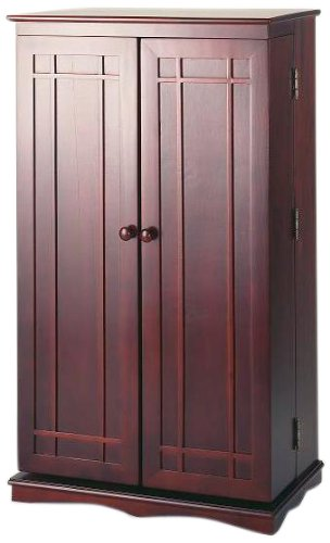 Leslie Dame CD-612C Solid Oak Multimedia Storage Cabinet with Classic Mission Style Doors, Cherry