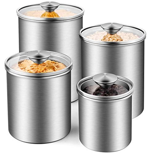 (Deppon Airtight Canister Set, 4-Piece Stainless Steel Food Storage Container with Tempered Glass Lids for Kitchen Counter Coffee Tea Nuts Sugar Flour)
