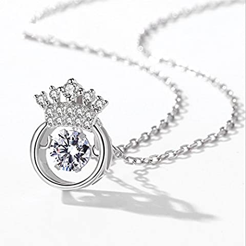 Duseco Dancing Necklace 925 Sterling Silver Round Shaped Crown Charm Dancing Heart Elegant Luxury Simple for woman, - Crown Rhinestone Collar Charm