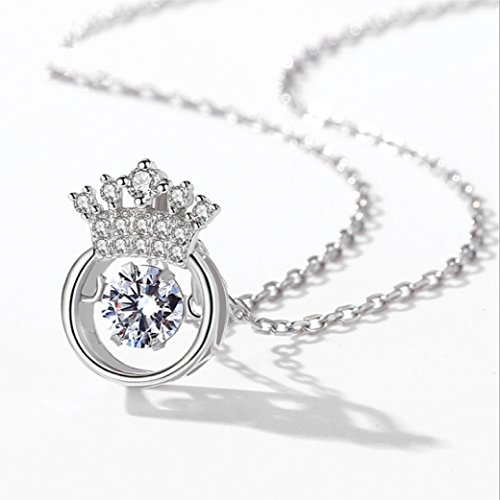 Duseco Dancing Necklace 925 Sterling Silver Round Shaped Crown Charm Dancing Heart Elegant Luxury Simple for woman, 18""