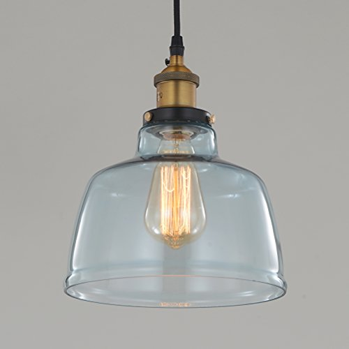 Aqua Blue Glass Pendant Light