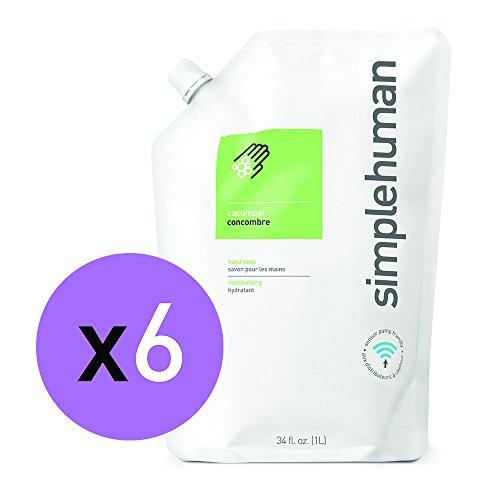 simplehuman cucumber moisturizing liquid hand soap 34 fl. oz. refill pouch (pack of - Cucumber Moisturizing