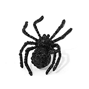 ISALOE Black Spider Rings Halloween Toys Adjustable Metal Crystal Spider Rings for Women Mens