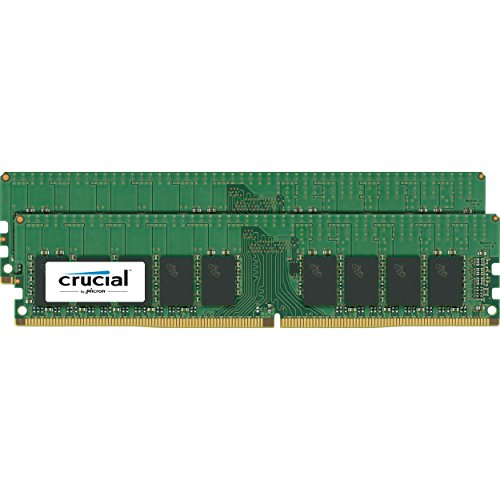 - Crucial Technology 32GB (2X 16GB) 288-Pin EUDIMM DDR4 (PC4-19200) Server Memory Module Kit, CL=17, DR x8, Unbuffered, 2400 MT/S Speed, ECC, 1.2V